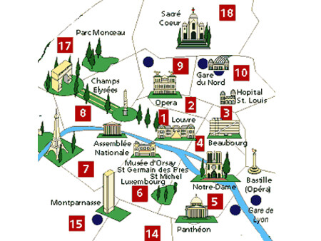 Paris hotel districts map